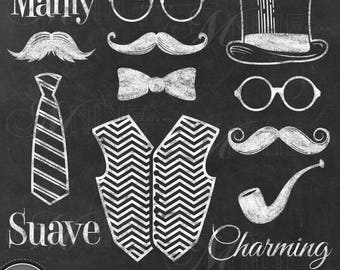 GENTLEMAN MUSTACHE Clip Art / Chalkboard Mustache Clipart Downloads / Mustache Party, Mustache Theme, Mustache Scrapbook, Chalk Mustaches