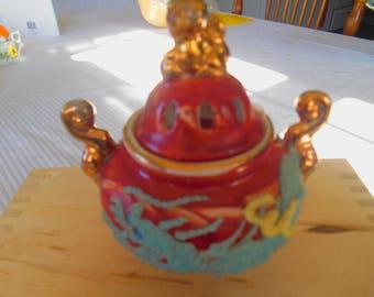 1930s Red G Marked Japan Incense Burner