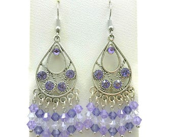 Purple Chandelier Earrings, Tanzanite Crystal, Purple Crystal, Teardrop Earrings, Tanzanite Earrings, Purple Earrings, Crystal Earrings