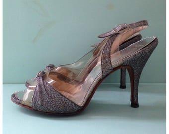 Vintage 1950s - silver lamé slingback high heels - peep toe - clear vinyl / plastic toe box - rhinestone detail - size 6.5 / 7