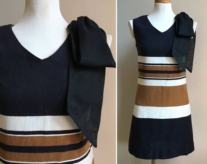 Featured listing image: Vintage 1960s - black brown & white beatnik sleeveless cotton linen short sheath day dress - matching scarf - S / M - 34 bust 30 waist