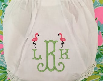 Monogrammed Bloomers,monogrammed diaper cover, personalized baby gift-Preppy Flamingo