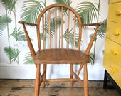 Ercol Windsor Carver Chair Blonde Wood 1960s Retro Mid Century Design 1970s