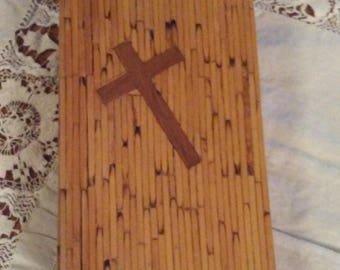 Wood Match Stick Covered Sunday Missal - Catholic Book Pub. Co., N.Y.  C. 1940's