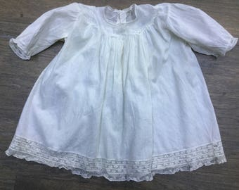 Baby Dress Slip Tiered Lace Trim Sheer Antique