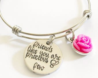 Friendship bracelet - Hand stamped bracelet - Gift for a friend - Friends like you are precious and few - Custom gift - Best friends forever