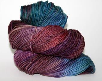 Hand-Painted DK Superwash Merino Wool Yarn - Popping Purples and Brilliant Blues