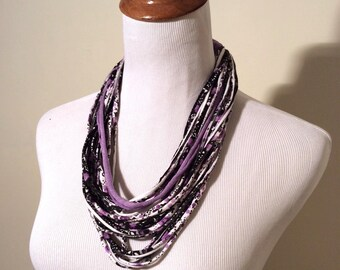 Vintage Handmade Purple/Black/White Knotted Layered Fabric Craft Necklace Headband Scarf/Handmade
