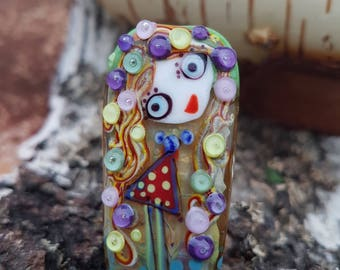 "Handmade Lampwork glass pendant, Lampwork glass focal bead, ""Girl"""