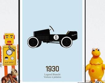 Vintage poster - pedal car, decoration children's room, vintage toy, racing car, soap box