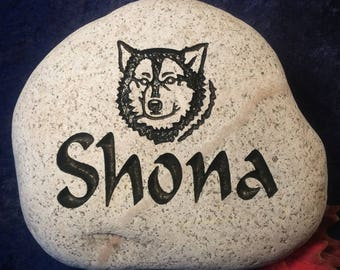Custom Engraved Husky  Pet Memorial Stones/Rocks