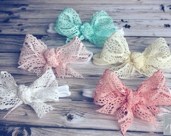 """Vintage Inspired Lace Bow Headband, Baby Headband, Hair Clips or Headband, Nylon Bow Headband, 4"""" Bows, Lace Bows, Toddler Girls Bows, Lace"""