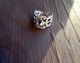 White boho ring, summer ring, one size fits most, gift for her, crystal ring, filigree ring, Mediterranean style ring, uk shop, uk seller