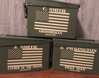 Ammo Boxes,Personalized ammo boxes, groomsmen ammo boxes, ammunition boxes, best man, father of the groom, groomsmen gift