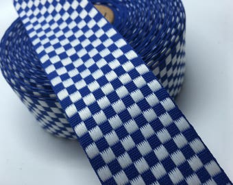 """1.5"""" Woven Blue and White Checker checked ribbon sold by the yard"""
