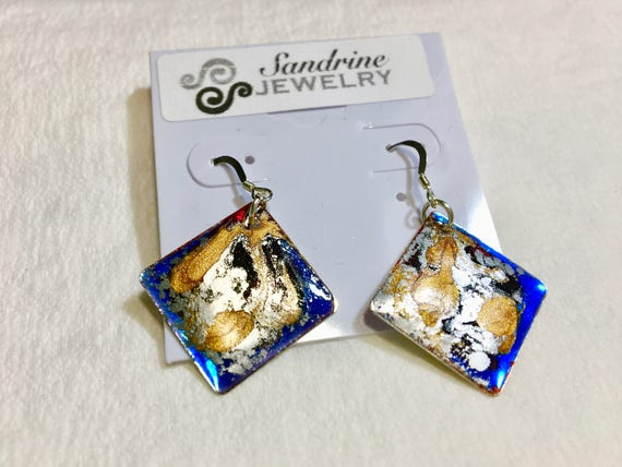 Handmade diamond shape blue silver gold enamel silver plated earrings with abstract designs
