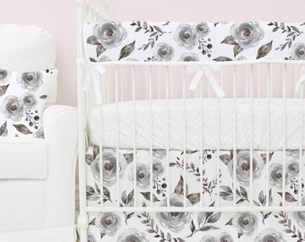 Hazy Gray Bumperless Baby Bedding | Gray, Grey, White,  Watercolor Floral, Teething Guard Girl Crib Set | Pink and Gray Floral Nursery