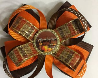 Wonderful Thanksgiving Hair Bow for your Daughter . Handmade by me.