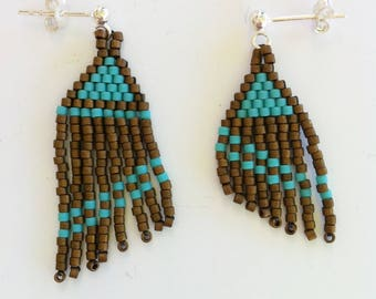 Earrings Native American, Navajo, Cheyenne, Comanche, solid 925 sterling silver and pearls