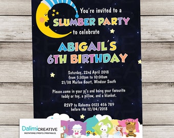 Slumber Party Invitation - Unisex Invitation - Pyjama/Pajama Party Invitation - Sleep Over Invitation - Print Yourself Invitation