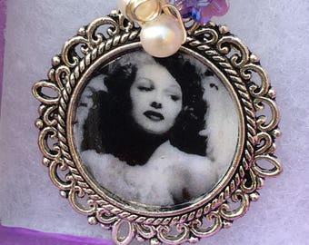 Sirens -Handmade Pendant- Freshwater Pearls, Silver Vintage Style Framed Photograph- image of  Rita Hayworth