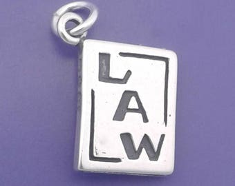 LAW BOOK Charm .925 Sterling Silver, Scales Of JUSTICE, Lawyer, Attorney Pendant - d42089