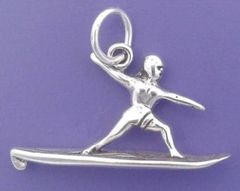 SURFER Charm .925 Sterling Silver, Surfboard, Surfing Charm Pendant - lp1343