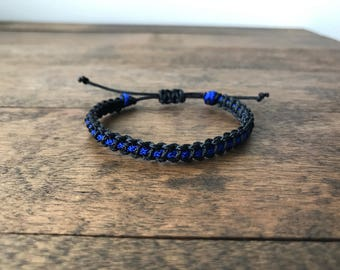 Thin Blue Line MICRO Cord Bracelet! ALSO Red, Gold, Gray and Custom Orders!