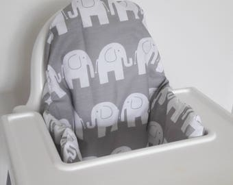 Antilop IKEA highchair cushion cover - cushion cover only - grey and white elephant high chair cushion cover - gender neutral MADE to ORDER