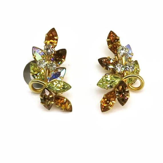 Mid 20th century rhinestone earrings, gold plated metal, amber, peridot, clear Aurora Borealis stones, clip ons, circa 1950s