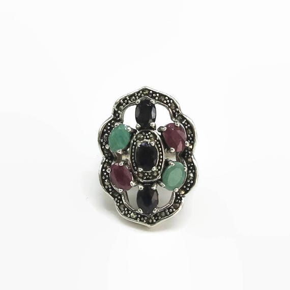Sterling silver statement ring with marcasite stones and 3 different gemstones in black, pink, green, large and heavy, 18 grams, size M / 6