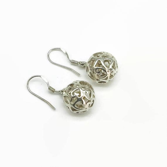 Sterling silver filigree ball hook earrings with open filigree work with heart shapes, hollow balls, very pretty