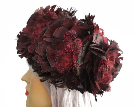 Vintage feathered pillbox hat, burgundy and black feathers all over, speckled Guinea Fowl feathers, fully lined, larger size, circa 1960s
