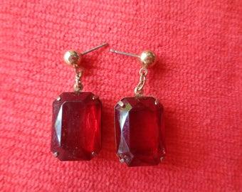 Vintage earrings dark red stones pierced ears