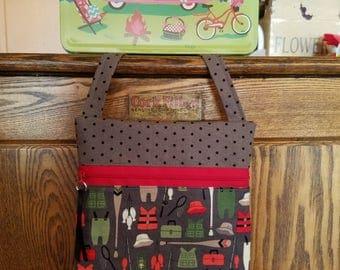 Front Zip Shoulder Bag with Fishing Gear Print