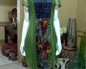 modernista sheath dress / Floral print dress / modernist dress / Short sleeve dress /  midi dress / Tunic dress/ Mesh Dress size M 10-12