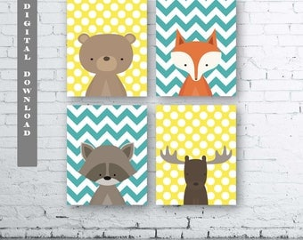 WOODLAND Chevron Polka Dot Animals Wall Art Print-Set of Four (4) - Digital Download. Woodland Creatures Wall Art. Turquoise and Yellow.