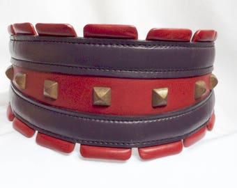 ALAIA Vintage Rare Leather Studded Wide Belt.