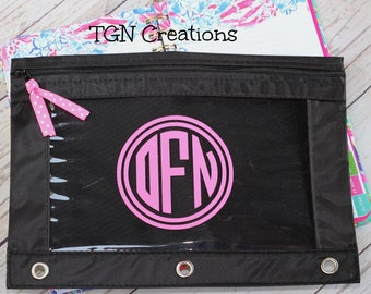 Personalized Pencil Pouch, Monogram Pencil Bag, Circle Monogram Decal, Personalized Back to School Supplies, Monogrammed Pencil Case Bag