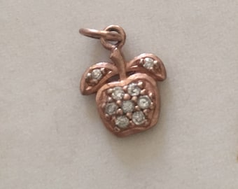 Vintage Rose Gold Vermeil Apple with Clear Stones Charm.Perfect for Teacher.