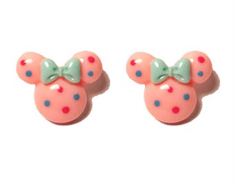 "Handmade Confetti Minnie"" Light Pink Minnie Mouse Inspired Earrings with Blue and Res Dots and Blue Bow"
