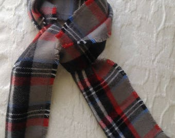 Grey and Red Flannel Scarf