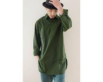 New Vintage 1970s Swedish army collared pullover long shirt field relaxed lounge army military fieldshirt m59 undershirt