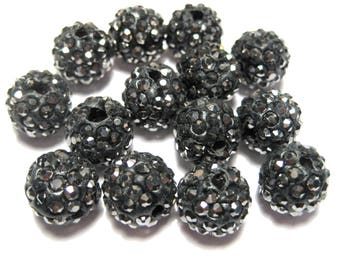 10pcs Hematite Polymer Clay Rhinestone Beads Pave Disco Ball Beads - Grade A 10mm