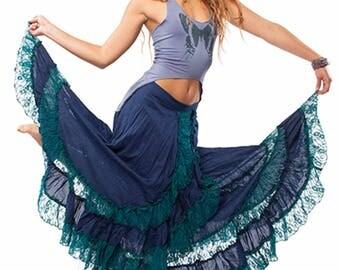 LONG GYPSY SKIRT, wraparound blue and turquoise boho skirt, lace skirt, bohemian Goa skirt, boho clothing