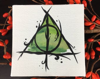 Canvas Panel Wall Art with Stylized Deathly Hallows Inspired by Harry Potter and the Tale of Three Brothers Peverell