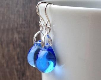Bright blue earrings, sterling silver cobalt blue glass teardrop earrings, September birthday rain drop bead jewelry gift for her