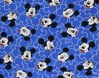 Fabric - Jersey fabric - Mickey mouse face print knit - Blue - Cotton/elastane