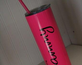 Skinny tumbler, metal skinny tumbler, stainless steel tumbler, personalized cup, monogrammed cup, monogrammed skinny tumbler