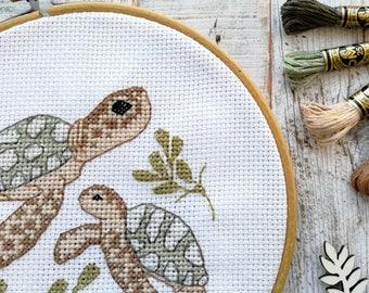 Turtle needlepoint pattern, nautical needlepoint, turtle cross stitch, cross stitch pattern beginner, sea turtle needlepoint, easy pattern